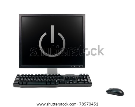 A desktop computer isolated against a white background - stock photo