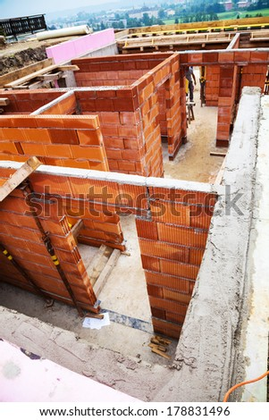 Bricks Dumpster Near Construction Site Home Stock Photo