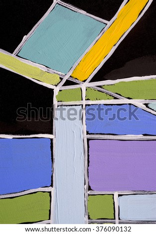 A detail from an abstract painting; simple, bold blocks of colour with white boundaries - stock photo