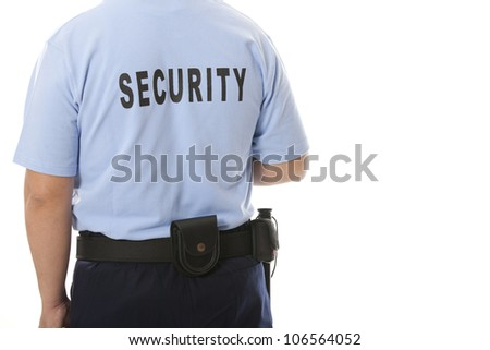 A detail of a security staff member