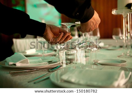A detail of a wedding table - stock photo