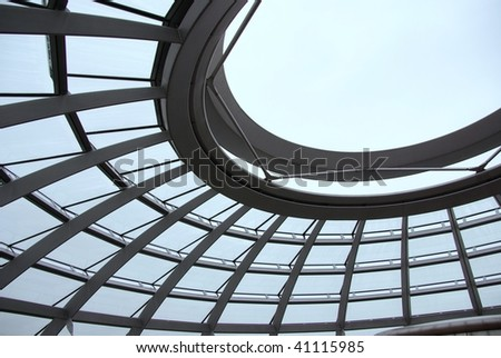 A detail of the modern dome at the old parliament building in Berlin - stock photo