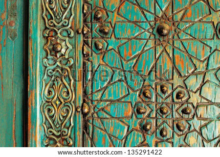 A detail shot of an ancient ottoman door - stock photo