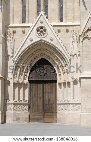 A detail view of Bordeaux Cathedral in France