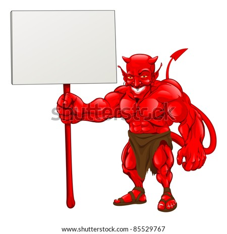 A devil cartoon character illustration standing with sign - stock photo