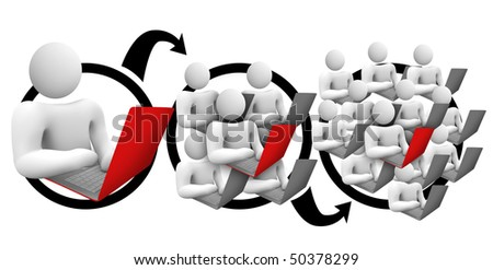 A diagram of a person sending a message and it reaching wider and wider audiences - stock photo