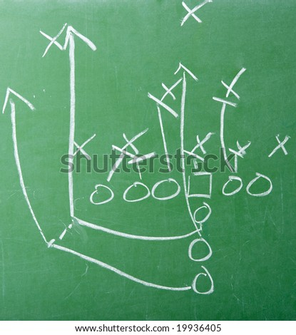 A diagram of an American football play on a green chalkboard - stock photo