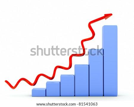 a diagram with arrow - stock photo