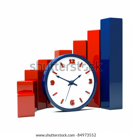 a diagram with clock a business concept - stock photo