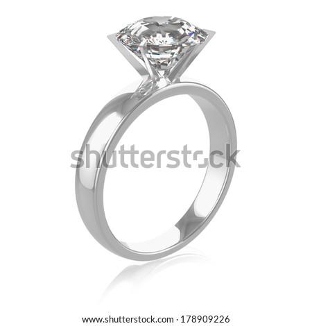 A diamond ring on a white background. - stock photo