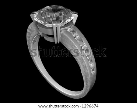 A diamond-studded engagement ring - stock photo