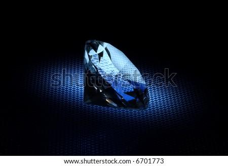 A Diamond with Creative Lighting - Blue Tint - stock photo