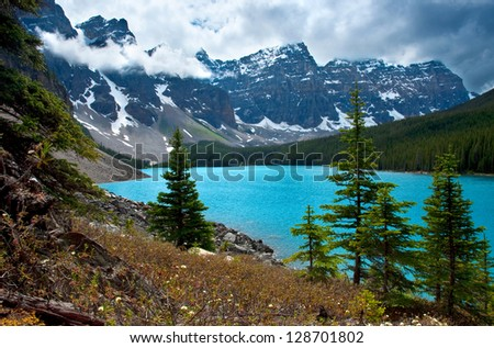 A different angle of Moraine Lake in Banff National Park. - stock photo