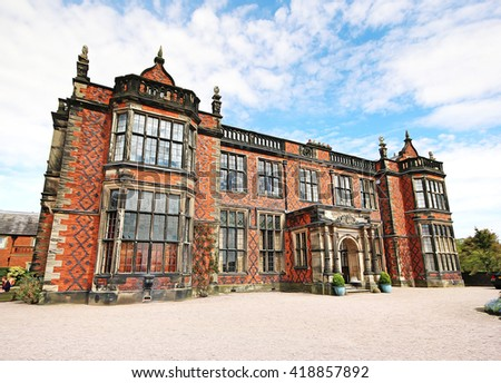 A digital anisotropic illustration of Arley Hall, Cheshire, UK - stock photo