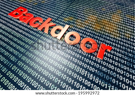 A digital backdoor, a vulnerable port for a hakers attack. 3D rendered Illustration. - stock photo