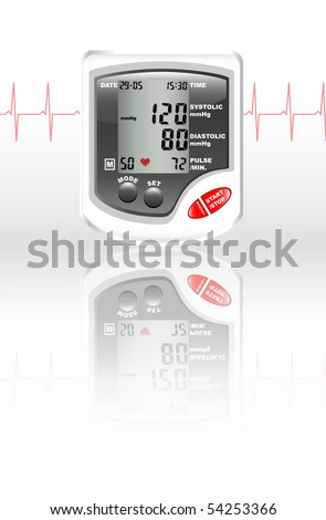 A digital blood pressure monitor against white with reflection on shiny surface. Heartbeat shown in red.
