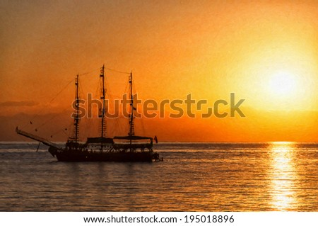 A digital painting of a tallship sitting peacefully on the ocean as the sun gets ready to set over the horizon. - stock photo