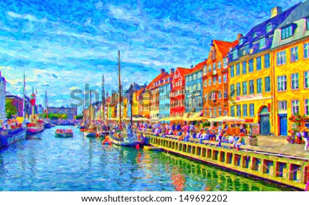 A digital painting of Nyhavn in Denmark which is a popular drinking and eating area for tourists in Copenhagen by the canalside. - stock photo