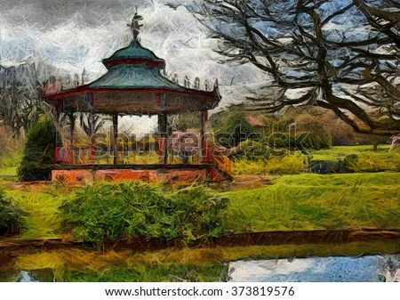 "A Digital painting of the Bandstand in Sefton Park, Liverpool. Said to be the inspiration behind ""The Beatles"" song Sgt Peppers Lonely Hearts Club Band"