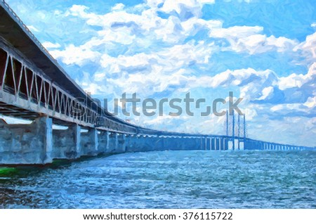 A digital painting of the 'oresundsbron' the bridge that connects Sweden with Denmark and one of the longest of its kind in the world. - stock photo