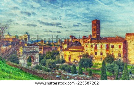 A digital painting of the Roman Forum Unesco site in Rome, Italy. - stock photo