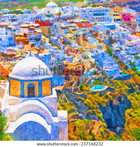 A digital painting of the santorini capital town of fira with landmark church in the foreground. - stock photo