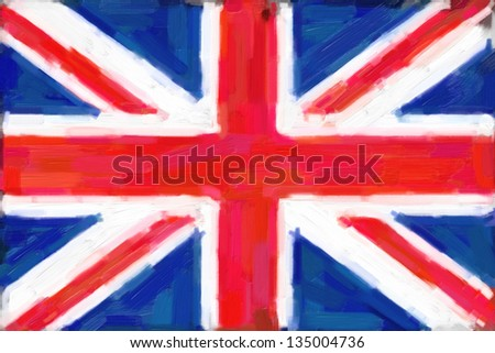 A digital painting of the union jack flag of Great Britain. - stock photo