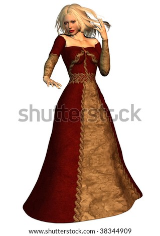 A digital render of a beautiful woman wearing a long dress and standing in a mystical pose. - stock photo
