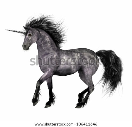 A digital render of a black and silver unicorn with black mane, tail and fetlocks.  Isolated on a white background. - stock photo
