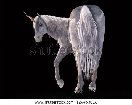 A digital render of a white/silver unicorn on a black background.  The unicorn is shown from the rear and he is turning around to look at the viewer.