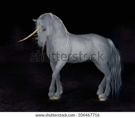 A digital render of a white unicorn with a curved gold horn and gold hooves.  Dark night background.