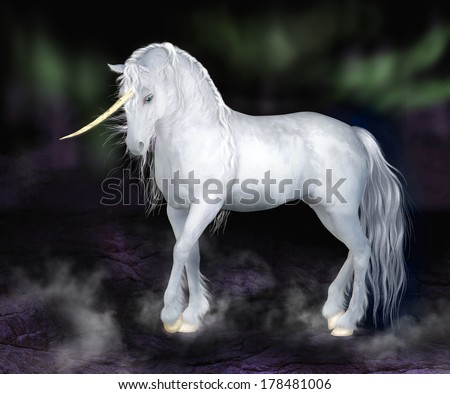 A digital render of a white unicorn with a curved gold horn and gold hooves.  Dark night background with Northern Lights and misty fog.