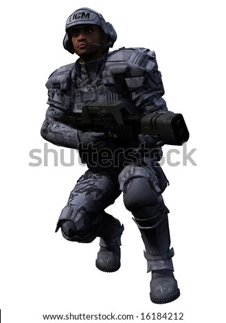 A digital render of an isolated Space Marine Ranger 2, 3d digitally rendered illustration - stock photo