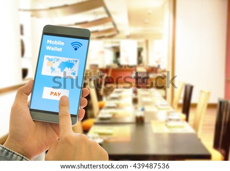 A digital wallet to pay for goods and services in restaurants to convenient and fast. - stock photo