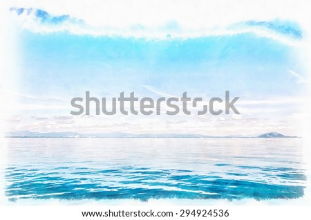 A digital watercolor painting of the blue horizon just off the coast of Thailand. - stock photo
