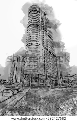 A digitally constructed illustration of modern commercial building, Leeds, England, UK - stock photo