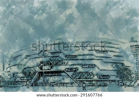 A digitally constructed line drawing and watercolour washes of the new event and entertainment centre, Leeds, UK - stock photo