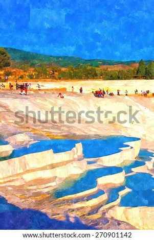 A digitally constructed painting of rock pools at Pamukkale Turkey - stock photo