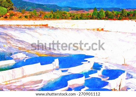 A digitally constructed watercolor painting of Pamukkale Turkey - stock photo