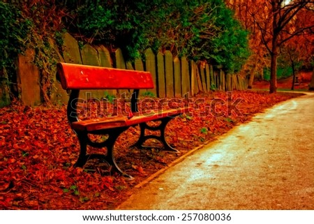 A digitally converted painting of a single bench in a cemetery - stock photo