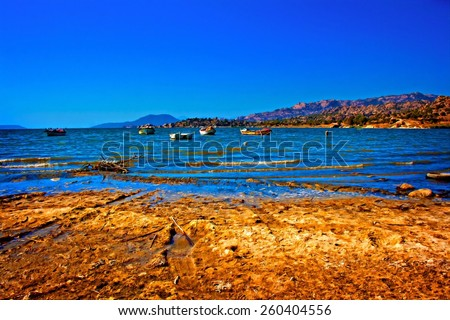 A digitally converted painting of Bafa Lake in Turkey - stock photo