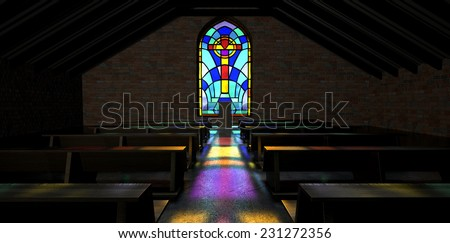 A dim old church interior lit by suns rays penetrating through a colorful stained glass window in the pattern of a crucifix reflecting colors on the floor in amongst rows of church pews - stock photo