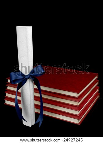 A diploma with a blue ribbon and several books aside. Isolated on black. - stock photo