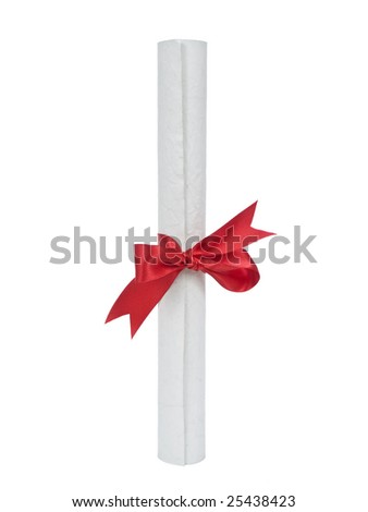 A diploma with red ribbon isolated on white background. - stock photo