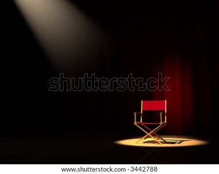 A director chair on the stage - stock photo
