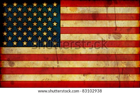 A dirty, stained flag of the United States in a grunge illustration style and in a wide-screen aspect ratio. - stock photo