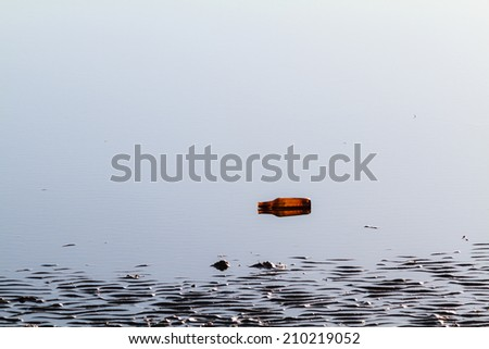 A discarded amber beer bottle washed up in the shallow waters of Bramble Bay in Brisbane. - stock photo