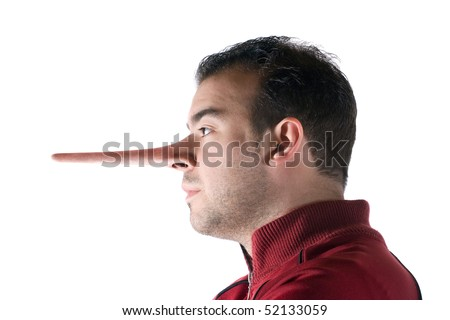 A dishonest man has a nose that grew long when he lied just like in the story of Pinocchio. - stock photo