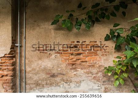 A disintegrating brick wall, Vintage wall - stock photo