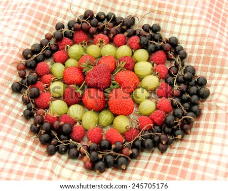 A Display of Fruit Berries on a Chequered Cloth. - stock photo